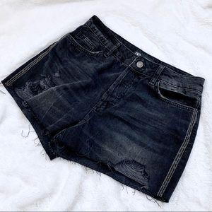 Zara High Rise Rhinestone Black Cutoff Shorts Sz 4